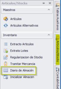 Articulos y stocks seleccionamos Diario de Almacén