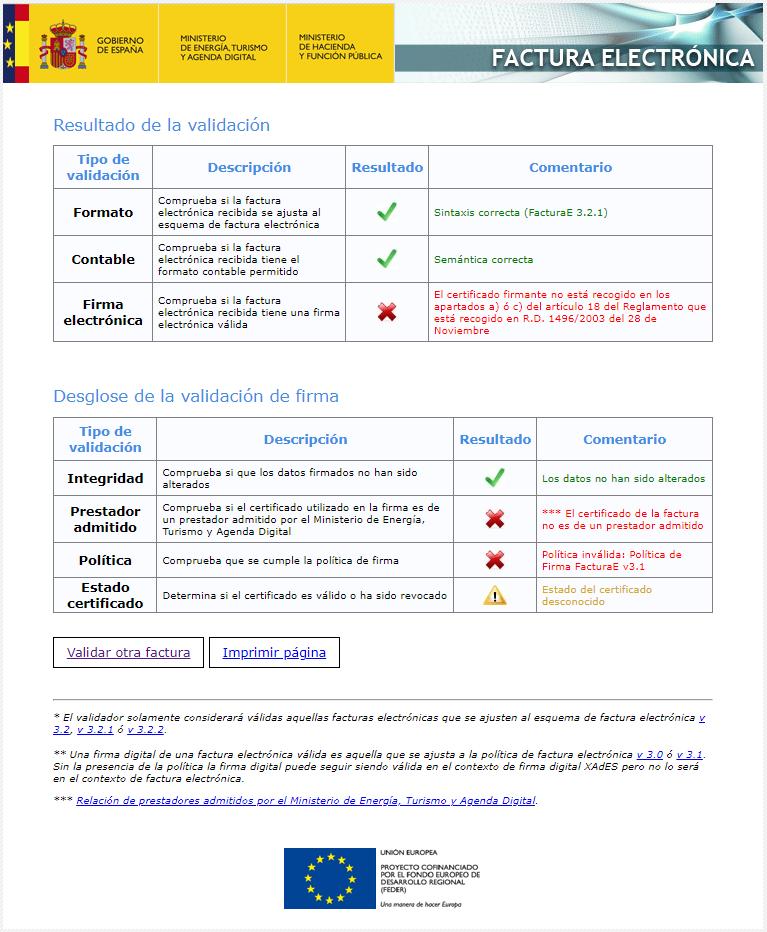 Informe validación técnica