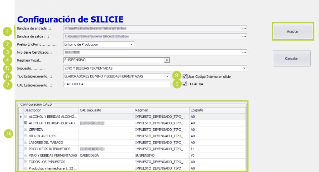 Configuración de SILICIE