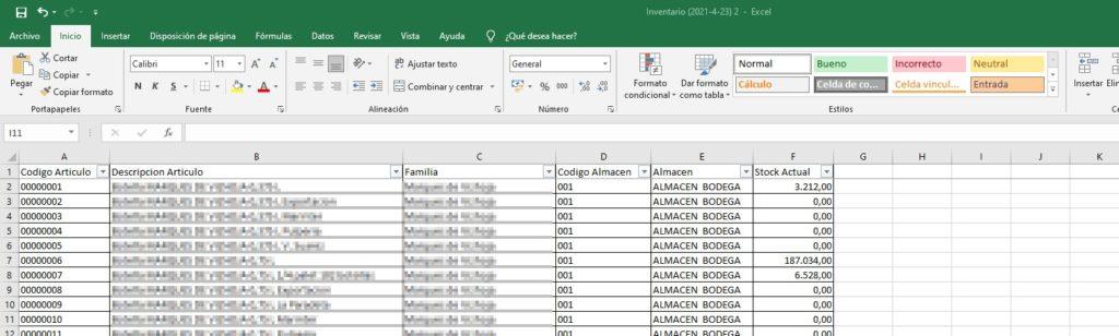 Excel exportación Inventario