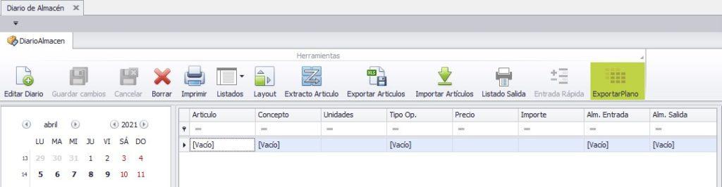 Botón exportar a plano diario de almacén