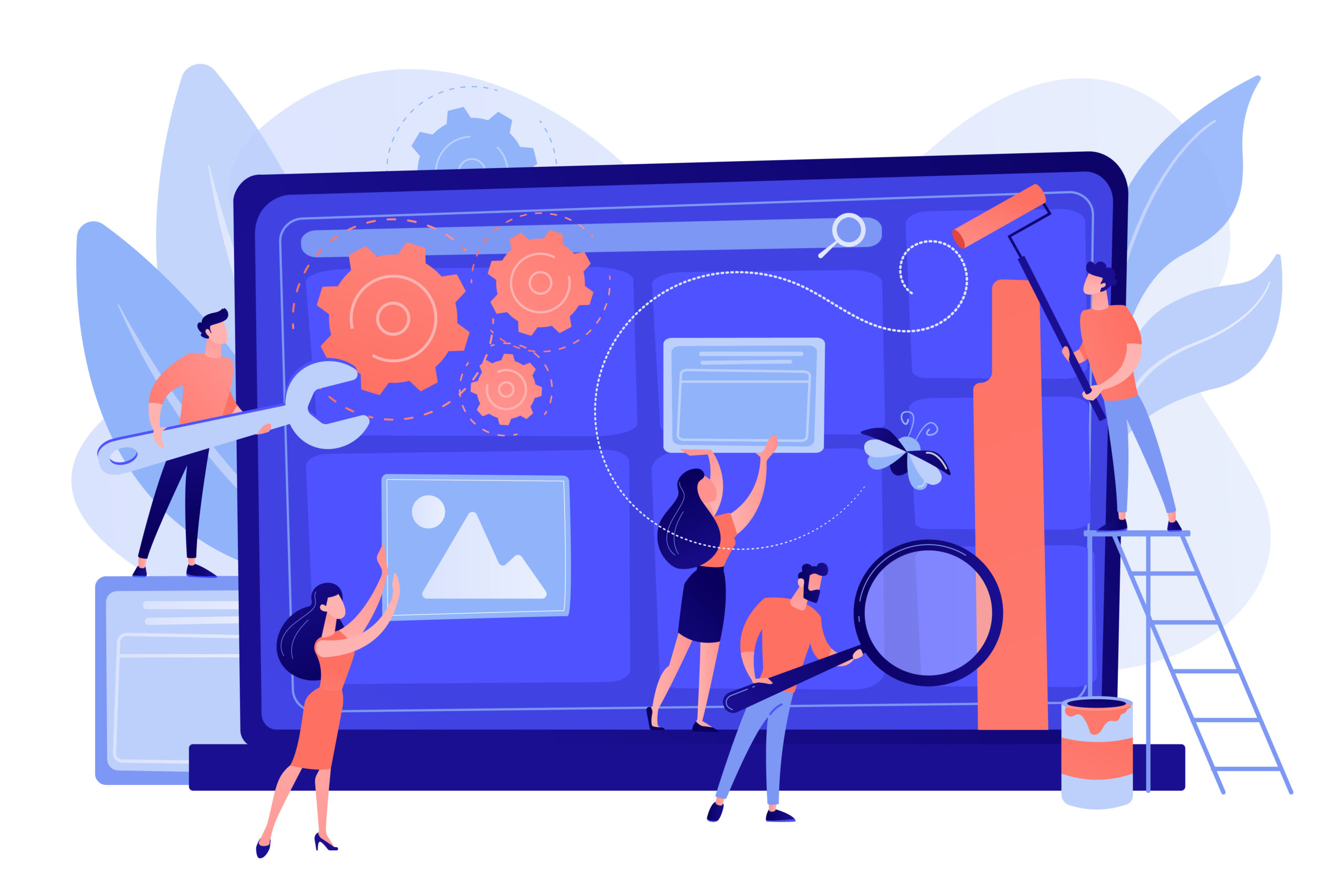 Technical support, programming and coding. Website maintenance, website maintenance services, update and keep your site easy concept. Pinkish coral bluevector isolated illustration