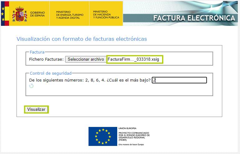 Visualizador oficial de facturas electrónicas