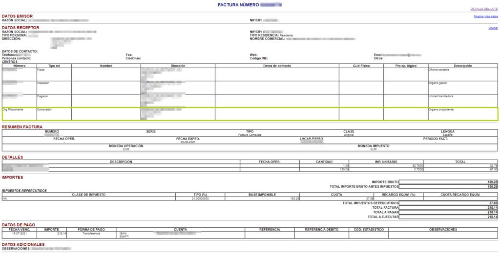 Ejemplo factura electronica con órgano proponente