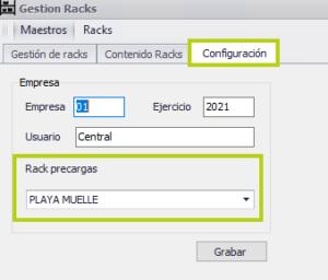 Determinación del rack para precargas