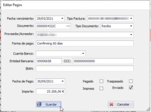 Editar vencimiento con filtro en grid principal