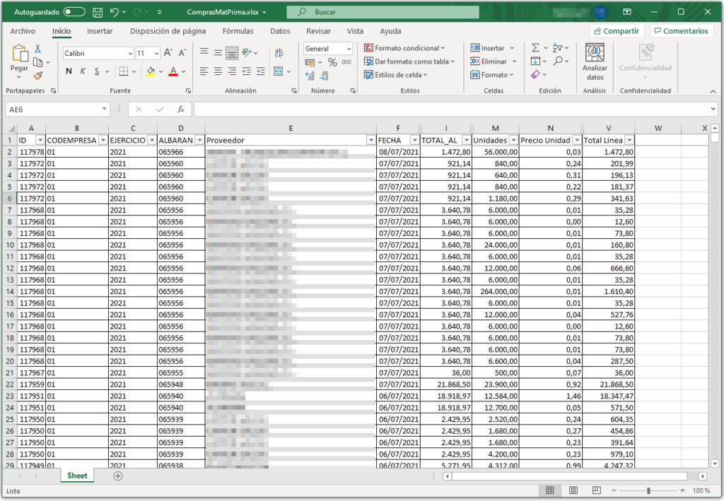 Exportación a fichero plano de compras de mp