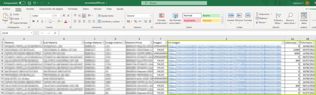 Nuevos campos en el fichero plano de Necesidades de MPA