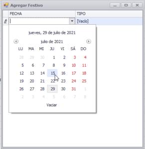 Calendario de festivos