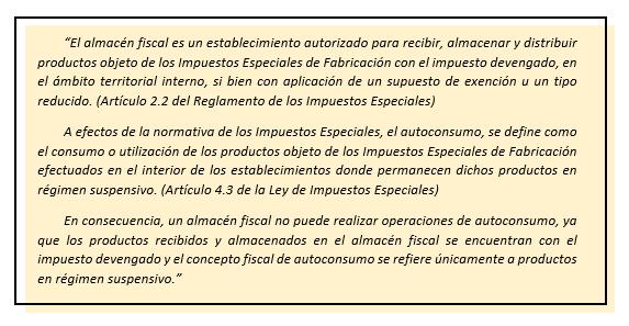 Silicie no permite operaciones de autoconsumo en almacenes fiscales